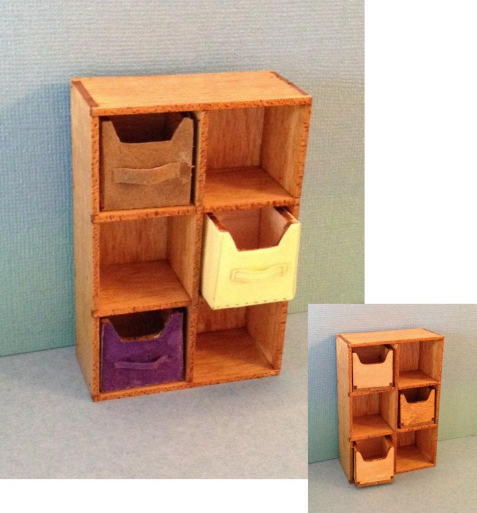 Kit Modern Cubical Shelving Dollhouse Furniture Kit